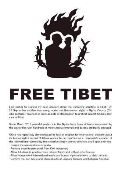 中国政府によるチベット人弾圧を即刻やめさせてください!(英語)